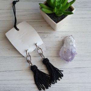 Urban outfitters Seed bead tassel earrings Silver